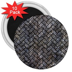 Brick2 Black Marble & Gray Stone (r) 3  Magnets (10 Pack)  by trendistuff