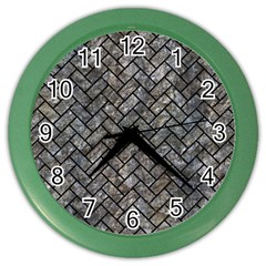 Brick2 Black Marble & Gray Stone (r) Color Wall Clocks by trendistuff