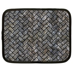 Brick2 Black Marble & Gray Stone (r) Netbook Case (xl)  by trendistuff