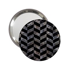 Chevron1 Black Marble & Gray Stone 2 25  Handbag Mirrors by trendistuff