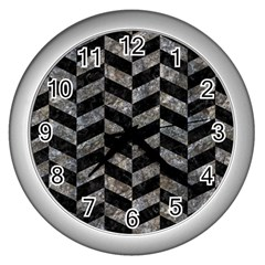 Chevron1 Black Marble & Gray Stone Wall Clocks (silver)  by trendistuff