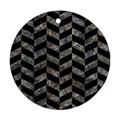 Chevron1 Black Marble & Gray Stone Round Ornament (two Sides) by trendistuff
