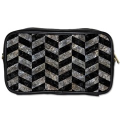 Chevron1 Black Marble & Gray Stone Toiletries Bags 2 Side by trendistuff