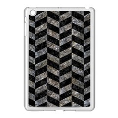 Chevron1 Black Marble & Gray Stone Apple Ipad Mini Case (white)