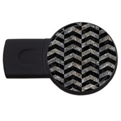 Chevron2 Black Marble & Gray Stone Usb Flash Drive Round (2 Gb) by trendistuff