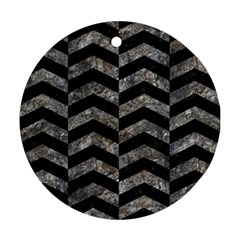 Chevron2 Black Marble & Gray Stone Round Ornament (two Sides) by trendistuff