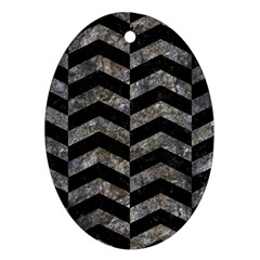 Chevron2 Black Marble & Gray Stone Oval Ornament (two Sides) by trendistuff