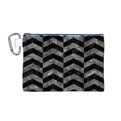 Chevron2 Black Marble & Gray Stone Canvas Cosmetic Bag (m)