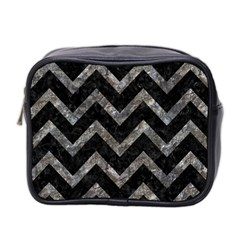 Chevron9 Black Marble & Gray Stone Mini Toiletries Bag 2 Side by trendistuff