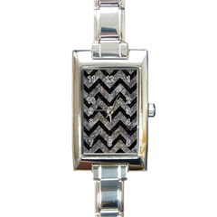 Chevron9 Black Marble & Gray Stone (r) Rectangle Italian Charm Watch by trendistuff