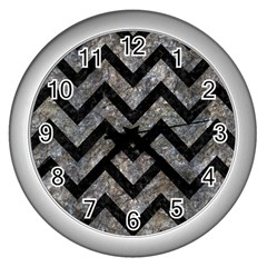 Chevron9 Black Marble & Gray Stone (r) Wall Clocks (silver)  by trendistuff