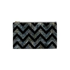 Chevron9 Black Marble & Gray Stone (r) Cosmetic Bag (small)  by trendistuff