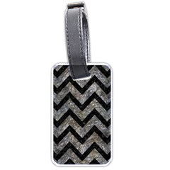 Chevron9 Black Marble & Gray Stone (r) Luggage Tags (one Side)