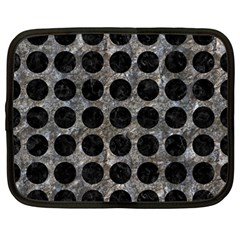 Circles1 Black Marble & Gray Stone (r) Netbook Case (large) by trendistuff