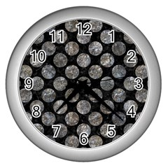 Circles2 Black Marble & Gray Stone Wall Clocks (silver)  by trendistuff