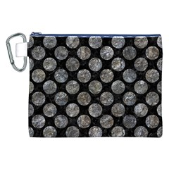 Circles2 Black Marble & Gray Stone Canvas Cosmetic Bag (xxl) by trendistuff