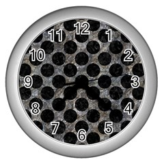 Circles2 Black Marble & Gray Stone (r) Wall Clocks (silver)  by trendistuff