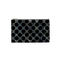 Circles2 Black Marble & Gray Stone (r) Cosmetic Bag (small)  by trendistuff