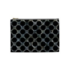Circles2 Black Marble & Gray Stone (r) Cosmetic Bag (medium)