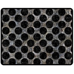 Circles2 Black Marble & Gray Stone (r) Fleece Blanket (medium)  by trendistuff