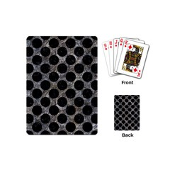 Circles2 Black Marble & Gray Stone (r) Playing Cards (mini)  by trendistuff