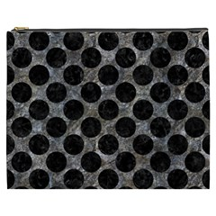 Circles2 Black Marble & Gray Stone (r) Cosmetic Bag (xxxl)  by trendistuff