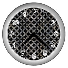 Circles3 Black Marble & Gray Stone Wall Clocks (silver)  by trendistuff