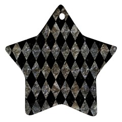 Diamond1 Black Marble & Gray Stone Ornament (star) by trendistuff