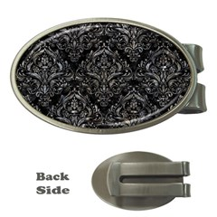 Damask1 Black Marble & Gray Stone Money Clips (oval)  by trendistuff