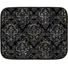 Damask1 Black Marble & Gray Stone Fleece Blanket (mini)