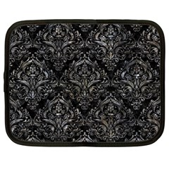 Damask1 Black Marble & Gray Stone Netbook Case (xl)  by trendistuff
