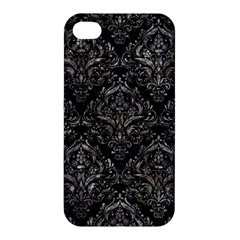 Damask1 Black Marble & Gray Stone Apple Iphone 4/4s Hardshell Case by trendistuff