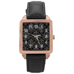 Damask1 Black Marble & Gray Stone Rose Gold Leather Watch  by trendistuff