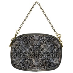 Damask1 Black Marble & Gray Stone (r) Chain Purses (two Sides)  by trendistuff