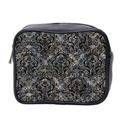 Damask1 Black Marble & Gray Stone (r) Mini Toiletries Bag 2 Side by trendistuff