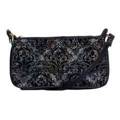 Damask1 Black Marble & Gray Stone (r) Shoulder Clutch Bags by trendistuff