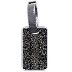 Damask2 Black Marble & Gray Stone Luggage Tags (one Side)  by trendistuff