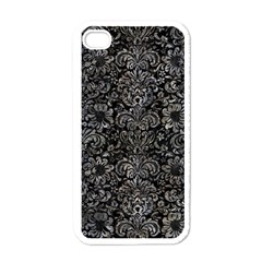 Damask2 Black Marble & Gray Stone Apple Iphone 4 Case (white) by trendistuff