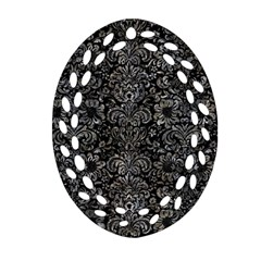 Damask2 Black Marble & Gray Stone Ornament (oval Filigree) by trendistuff