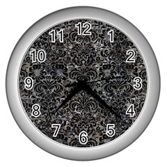 Damask2 Black Marble & Gray Stone (r) Wall Clocks (silver)  by trendistuff