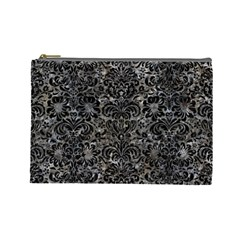 Damask2 Black Marble & Gray Stone (r) Cosmetic Bag (large)  by trendistuff