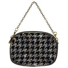 Houndstooth1 Black Marble & Gray Stone Chain Purses (one Side)  by trendistuff