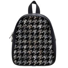 Houndstooth1 Black Marble & Gray Stone School Bag (small) by trendistuff