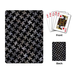 Houndstooth2 Black Marble & Gray Stone Playing Card by trendistuff