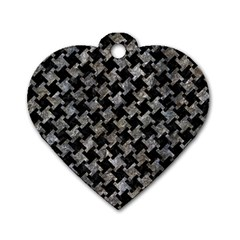Houndstooth2 Black Marble & Gray Stone Dog Tag Heart (one Side) by trendistuff