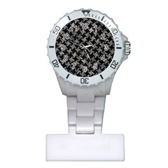 Houndstooth2 Black Marble & Gray Stone Plastic Nurses Watch by trendistuff
