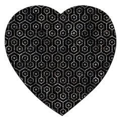 Hexagon1 Black Marble & Gray Stone Jigsaw Puzzle (heart) by trendistuff
