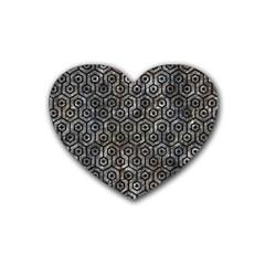 Hexagon1 Black Marble & Gray Stone (r) Rubber Coaster (heart)  by trendistuff