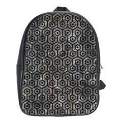 Hexagon1 Black Marble & Gray Stone (r) School Bag (large) by trendistuff