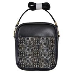 Hexagon1 Black Marble & Gray Stone (r) Girls Sling Bags by trendistuff